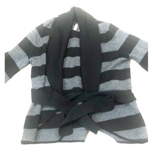 BCBG gray and black striped cardigan. Used